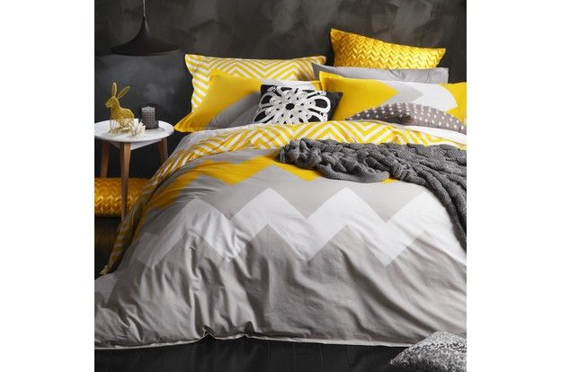marley quilt cover set queen – yellow Front: Large scale chevron rotary print with self-flange in cotton polyester percale. Reverse: Co-ordinated rotary print reverse in cotton polyester percale.