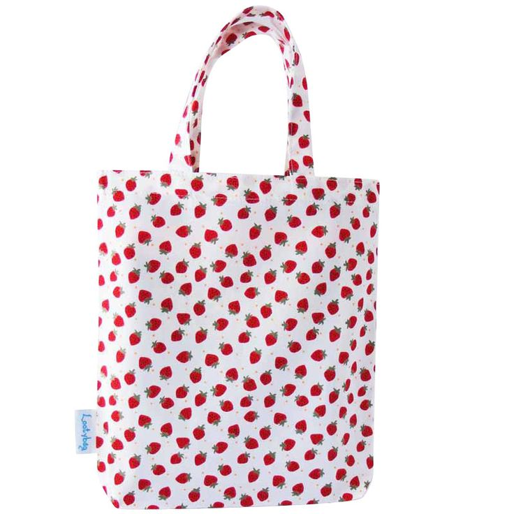 Strawberry Party Bag, Fabric Gift Bag, Loot Bag, Favor Bag by lootybag on Etsy https://www.etsy.com/listing/92672139/strawberry-party-bag-fabric-gift-bag