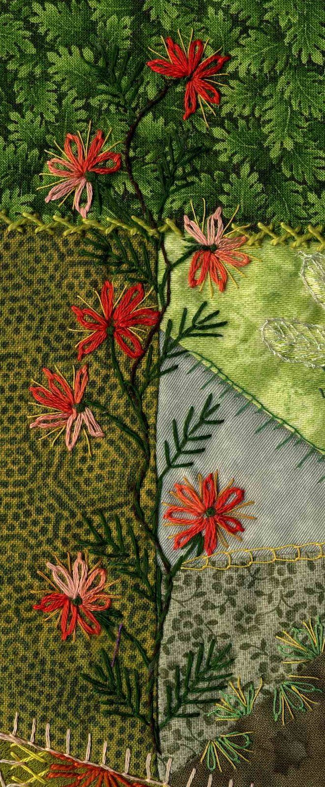 Love these trailing flowers on crazy quilting.