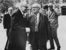 Max Horkheimer (front left), Theodor Adorno (front right), and Jürgen Habermas (in the background, right), in 1965 at Heidelberg.