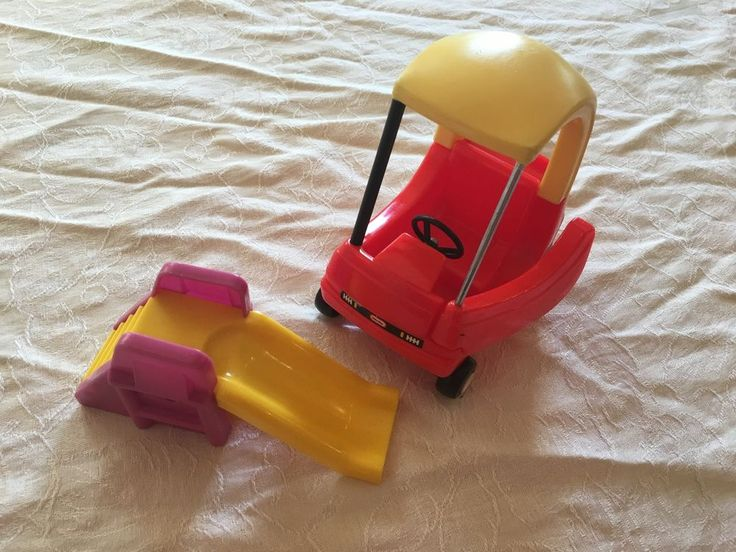 Little Tikes dollhouse miniature Cozy Coupe car.  Good condition, one of the black supports is missing showing the metal bar underneath, but still functional.  Bonus: cute slide, unknown brand.  . | eBay!