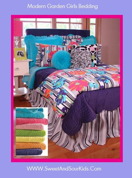 Brightly colored teen tween bedding