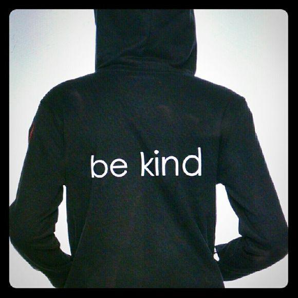 """peace love world """"Be Kind"""" Hoodie sz large Black with grey bands, lining in hood, cuff with thumb hole med weight hoodie. It has heart in red stitching on upper left arm sleeve. Quote on side f hood, """"love is not something you look for love is something you become!"""".  Smoke free/pet friendly home. peace love world Tops Sweatshirts & Hoodies"""