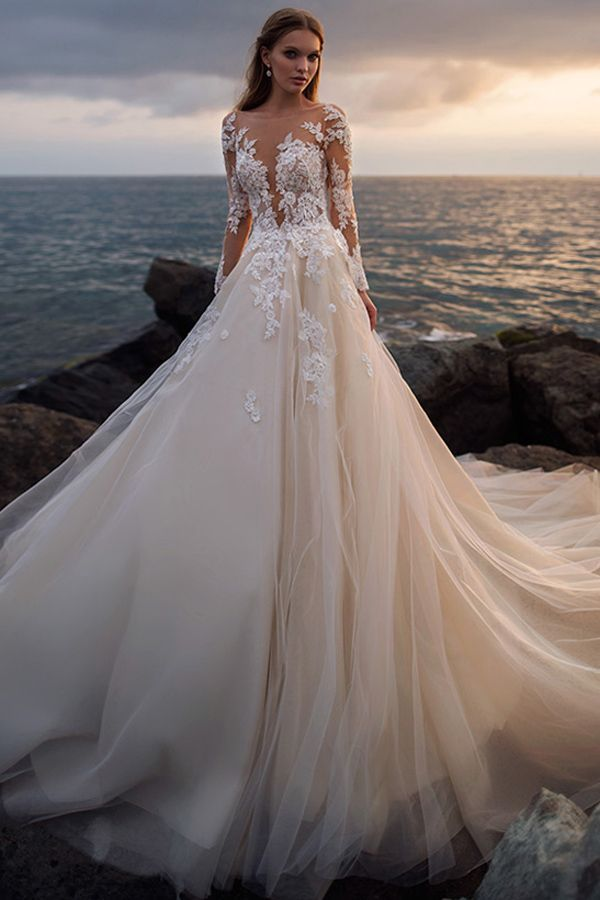 Stunning Tulle Sheer Bateau Neckline A-line Wedding Dress With Beaded Lace Appli…