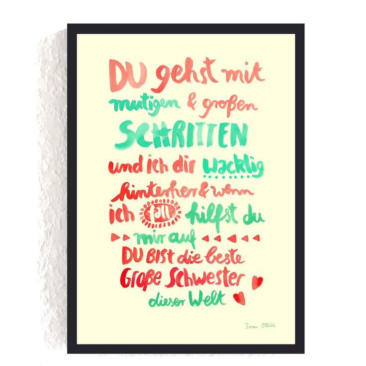 Print *Große Schwester* #schwester #großeschwester #geschwisterliebe – Sprüche