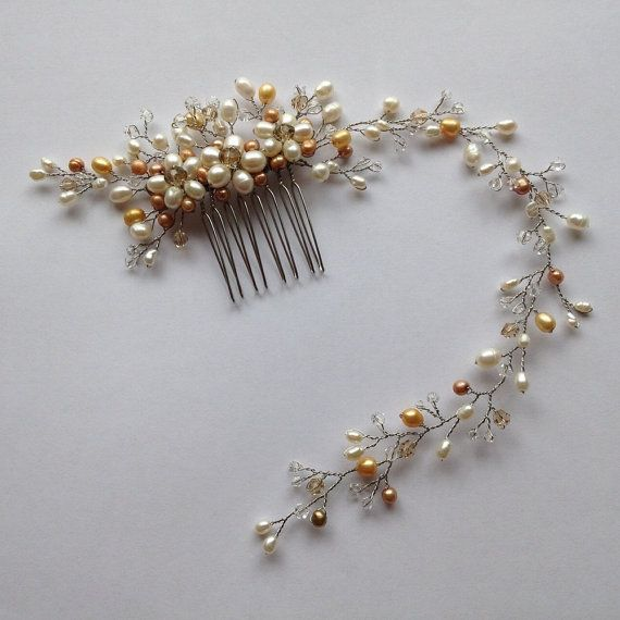 Freshwater pearl bridal hair comb vintage hair comb by VHbridal