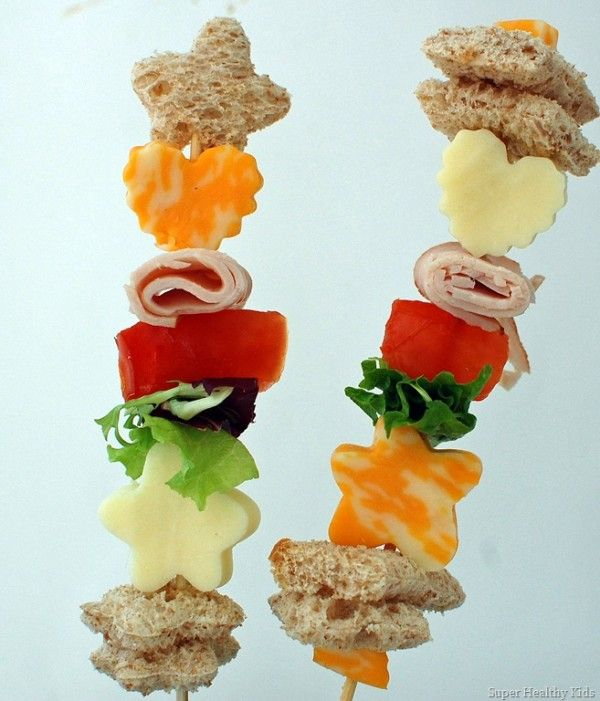 sweet and savory kabobs: It's time to reimagine the standard sandwich! If you've got cute cookie cutters on hand, punch shapes into breads and cheeses. Assemble on a skewer with turkey, lettuce, and tomato for a lunch that's far from boring.