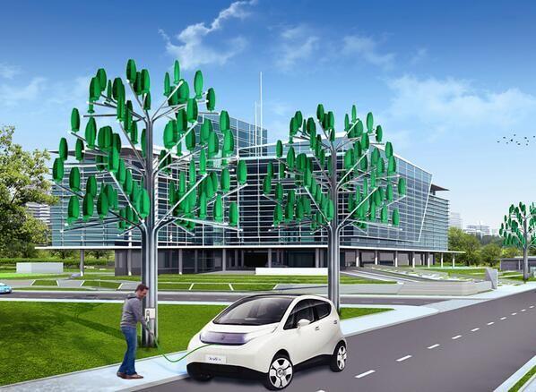 L'arbre à vent planté près des bornes de recharges de véhicules électriques
