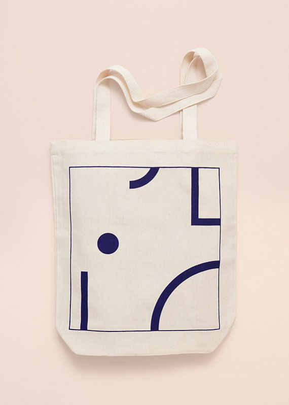 BLUE SHAPES Screen printed canvas fair trade eco tote by Depeapa