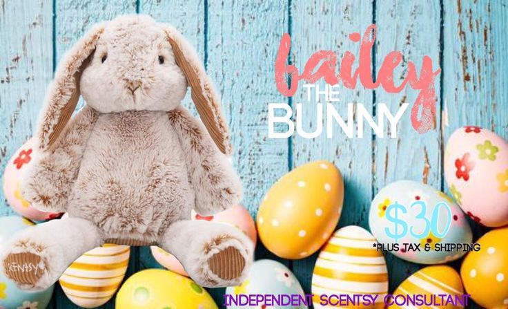 """Limited Edition """"Bailey the Bunny"""", stuffed animal Scentsy Buddy, includes your choice of fragrance Scent Pak. Perfect for spring or Easter. While supplies last! #2017 #scentsbykris"""