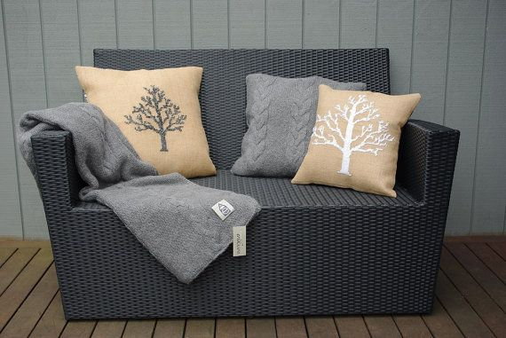 SNOW TREE  Scandinavian burlap pillow cover by anetteeriksson, $7.50
