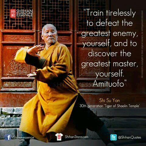 Entrena sin descanso para derrotar al mayor enemigo: tú mismo. Y también para encontrar al mejor maestro: tú mismo.