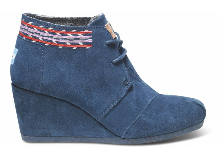 Navy Embroidered Desert Wedges. One for One. With every product you purchase, TOMS will help a person in need.Embroidered Deserts, Tom Shoes, Tom Navy, Suede Embroidered, Wedges Tomsnepalfal, Deserts Wedges Min, Navy Embroidered, Navy Suede, Tom Deserts