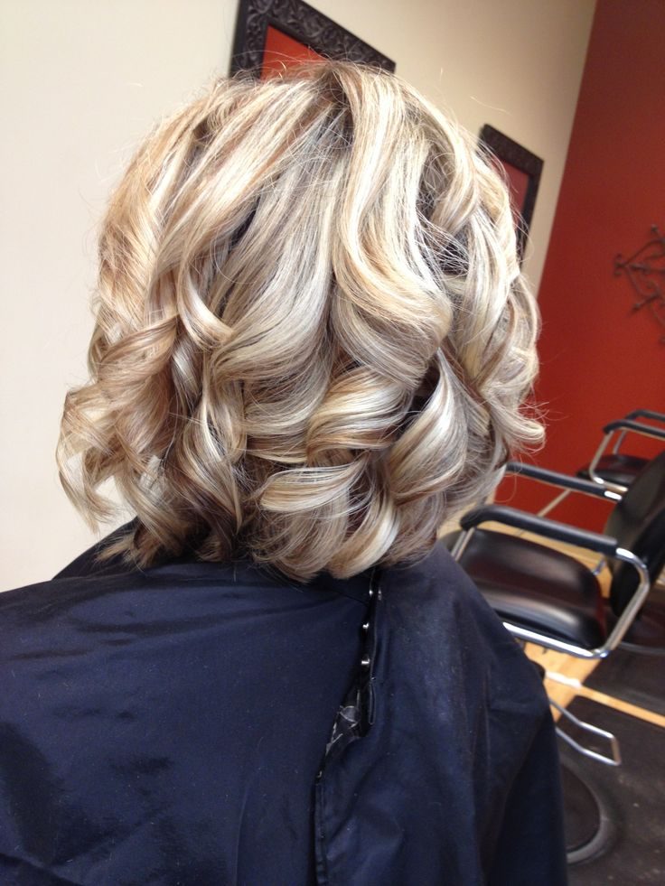 Curly bob with highlights and lowlights