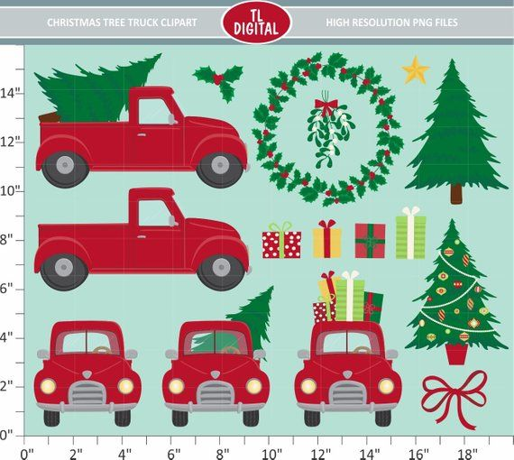 Christmas Tree Truck Clipart Set 16 Christmas Illustrations High Resolution Png Files Christmasclipart C Christmas Truck Christmas Tree Truck Clip Art