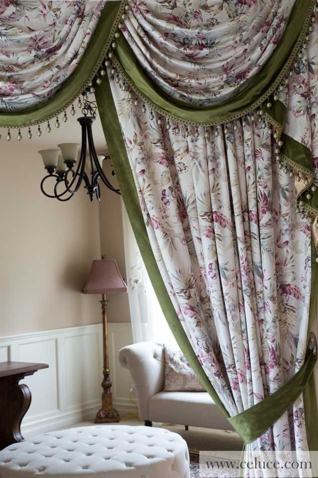 Classic Overlapping Swag Valance Curtains Pink Ink Wash Painting 100 inch