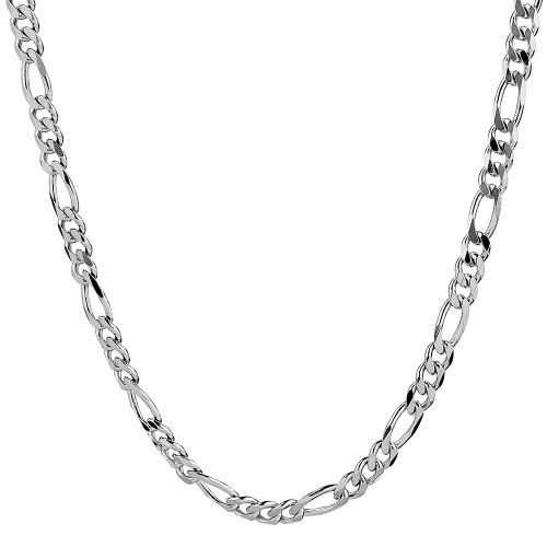 "Men's Sterling Silver Italian 4.60 mm Solid Figaro Link Chain Necklace, 22"" Amazon Curated Collection. $79.00. Made in Italy. Save 42%!"