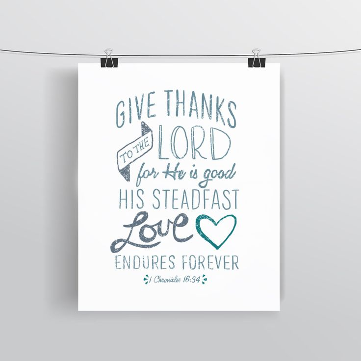 Bible Verse Art - 1 Chronicles 16:34 - Scripture Print - Hand-Lettered Typography