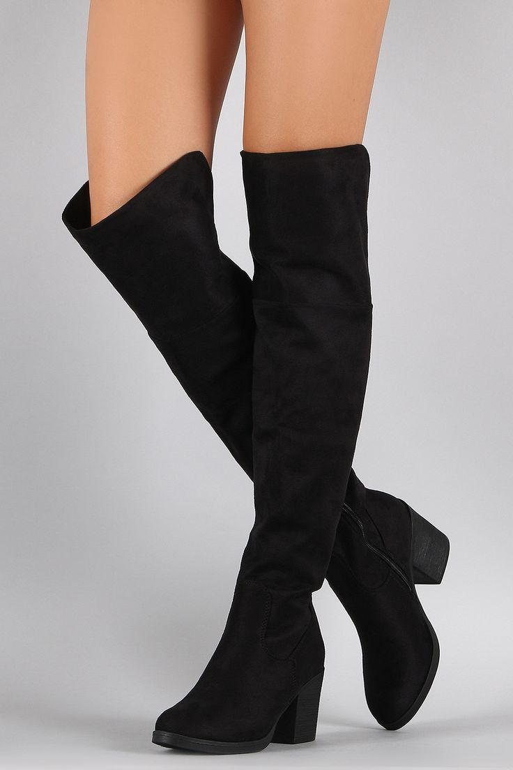 """Description These over the knee length. Light faux fur lining. Finished on stacked heel. Material: Vegan Suede (man-made) Sole: Synthetic Measurement Heel Height: 3"""" w/ 0.5"""" Platform (approx) Shaft Le"""