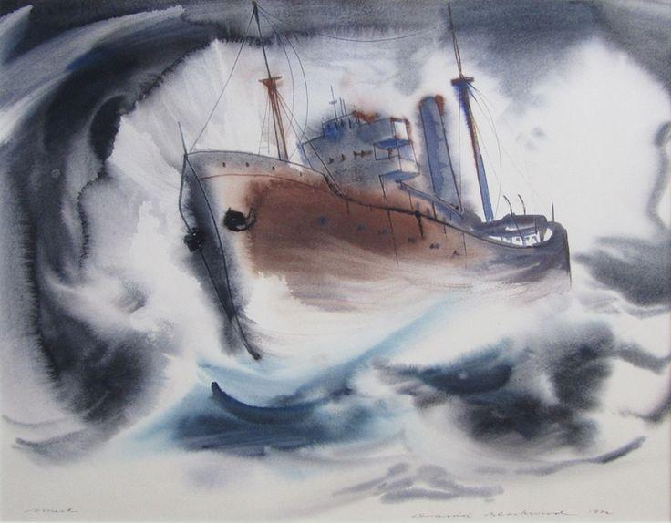 David Blackwood watercolour, Wreck, 1972, 19 X 24 inches