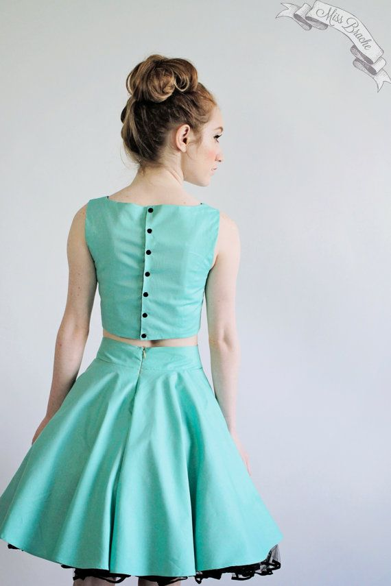 """for a dance in the future??  Bateau Crop """"Ariana""""  Dress Set with Full Circle Skirt and Reversible Top"""