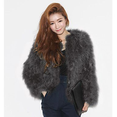 Baibian Women All Match Solid Color Fur Thermal Overcoat – AUD $ 31.71