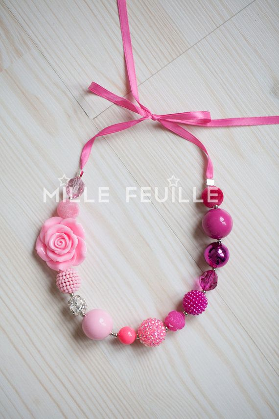 little girls chunky bead necklace  pink by MilleFeuilleBoutique