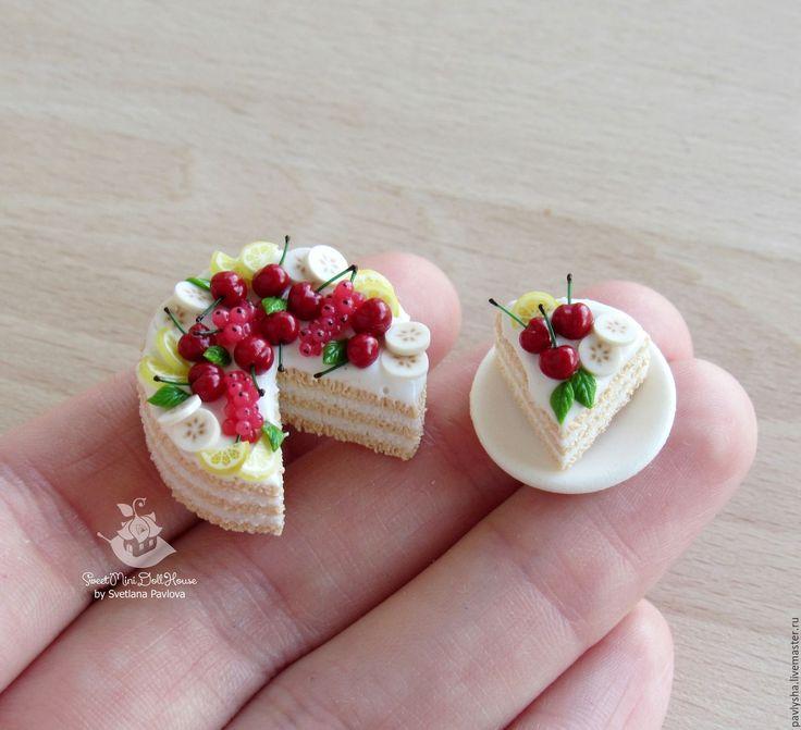 Tiny cake (polymer clay) / Купить Миниатюрный торт и кусочек тортика на блюдце. Масштаб 1:12 - еда из пластики, еда для кукол