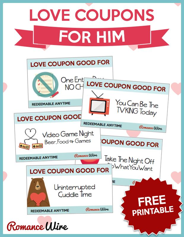 Love Coupons for Him | FREE PRINTABLE @RomanceWire