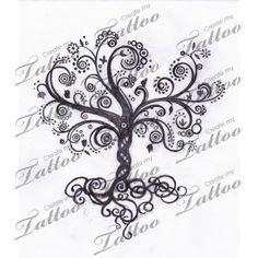 Whimsical Tree of Life   swirly tree #13168   CreateMyTattoo.com