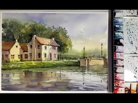Watercolor  Painting : the Houses on the riverbank - YouTube