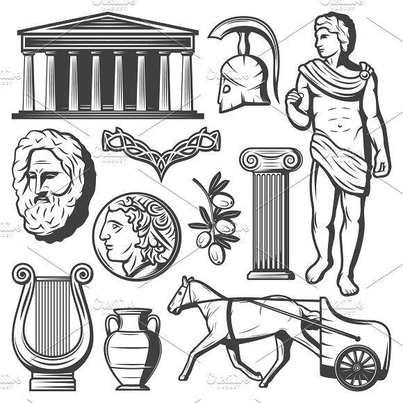 Vintage Ancient Greece Elements Set Ancient Drawings Ancient Greek Art Ancient Greece Art