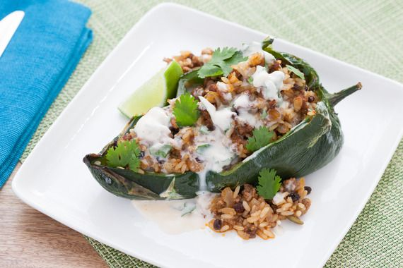 Rice & Beef-Stuffed Poblano Peppers with Lime-Crema Sauce. Visit https://www.blueapron.com/ to receive the ingredients.