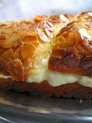 Bee Sting Cake | The cake can be made with or without yeast and filled with pastry cream or whipped cream or a combination of the two as it is here