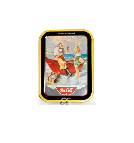 Coca Cola Collectibles Tray Metal Tray Collectible 1936 Sea Captain 1987 Fiftieth Anniversary by VintageTerrace