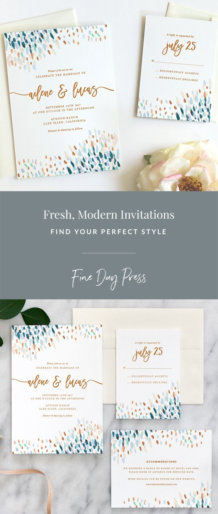 sample wedding invitation letter for uk visa%0A Fresh  modern wedding invitations on luxe cotton stock by Fine Day Press   weddinginvitation