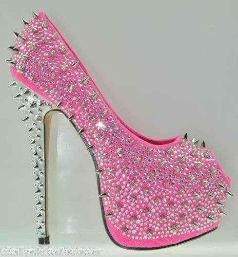 cute pink spike heels shoes!  Sexy heel shoes  Pinterest  Studs