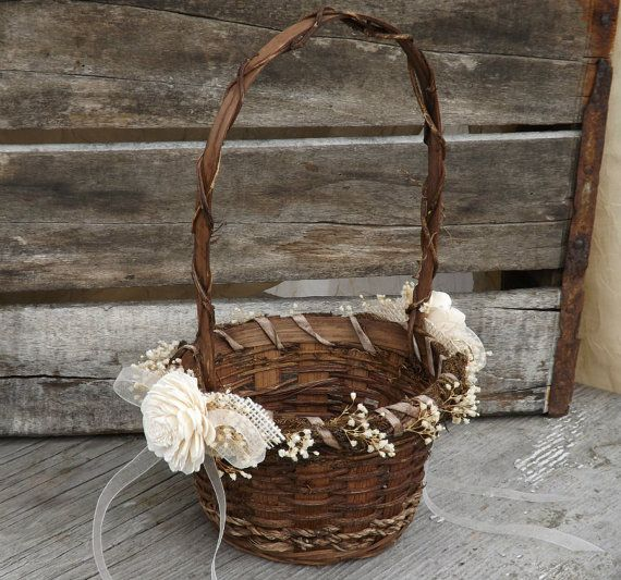 Rustic Flower Girl Basket Sola Flowers with by treasuredflorals
