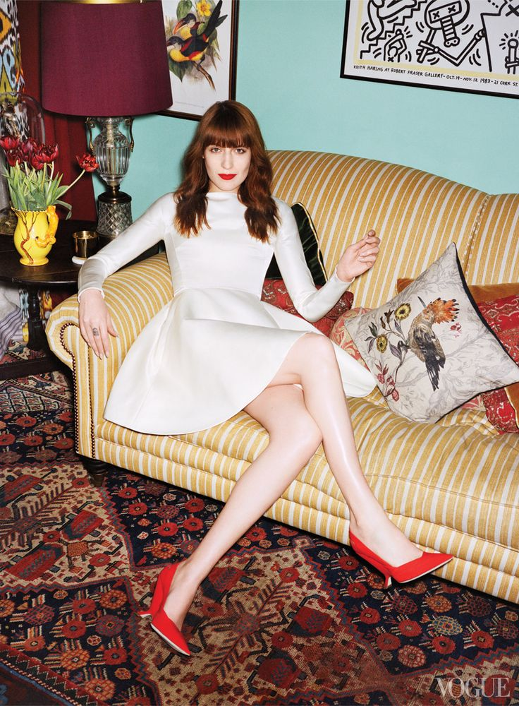 Florence Welch at home in Vogue USA pictured with  Timorous Beasties exclusive to John Lewis Hoopoe bird cushion. Rocking the Casa indeed.