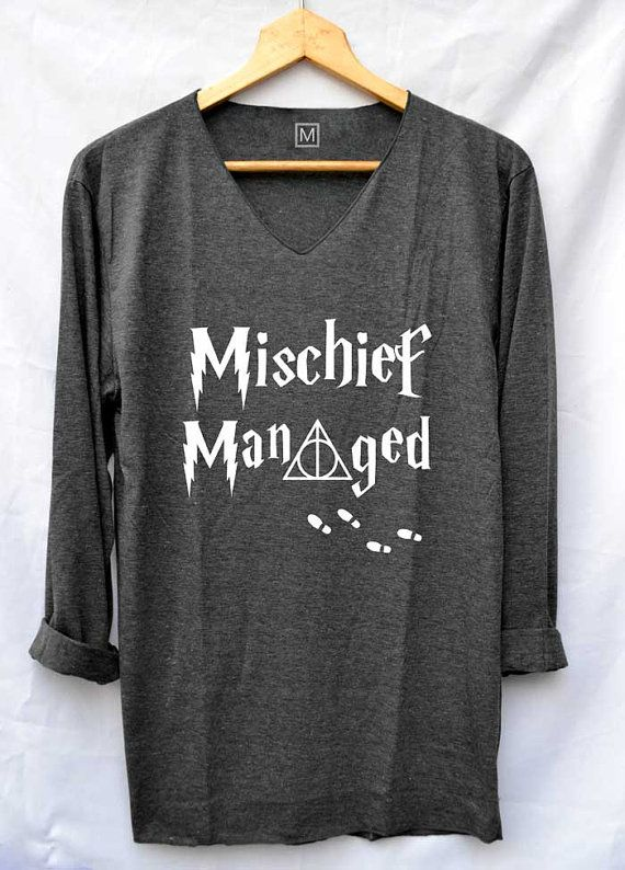 Mischief Managed Harry Potter Shirts VNeck Long por iNakedapparel