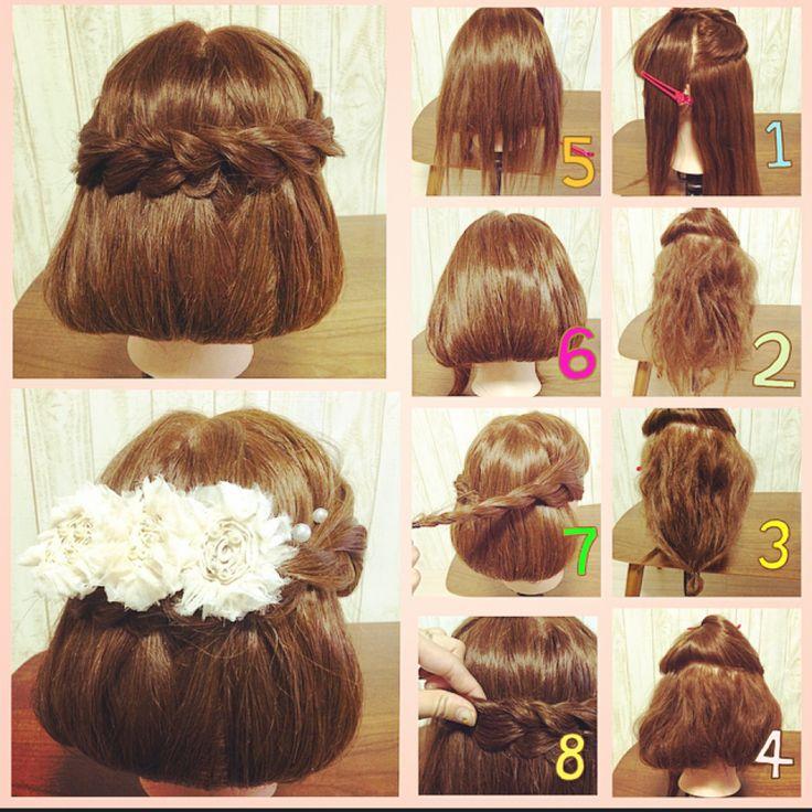 ボブ風アレンジのやり方です♥︎ 表面の髪は綺麗にストレートにしておくと仕上がりが綺麗になります。サイドのねじねじを後ろで止める時は、もう片方の下に結び目を入れ込むようにすると目立たないです♥︎ #ヘアアレンジ #ヘアセット #結婚式 #パーティー #ボブ #イメチェン #パール #バレッタ #やり方 #簡単