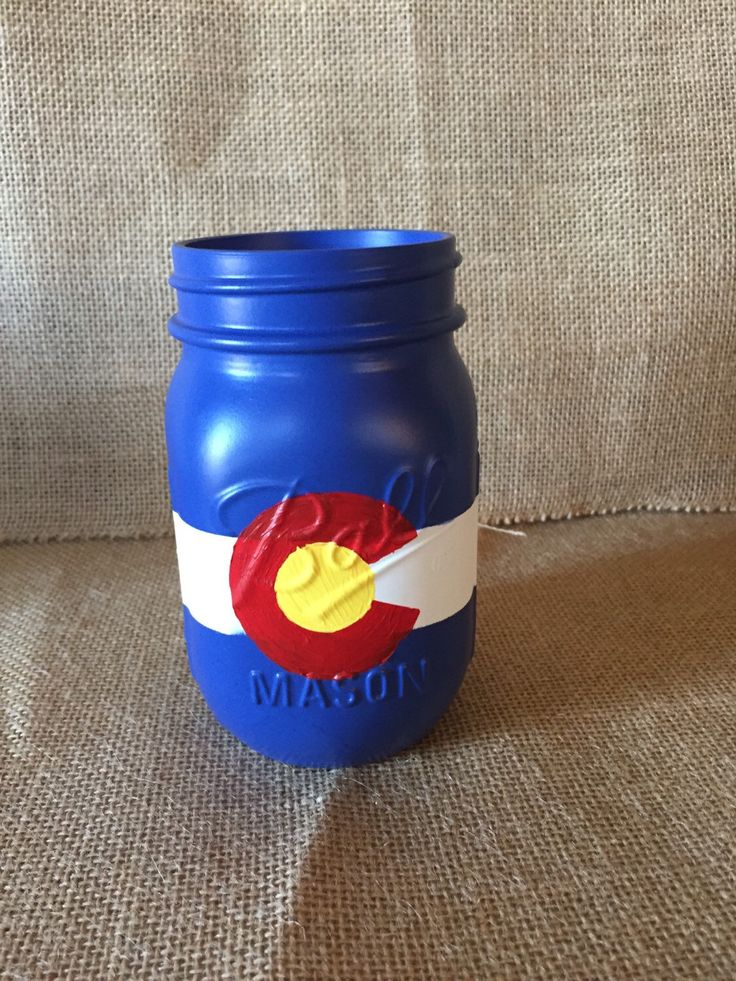 Colorado Flag Mason Jar by happilyeveriaia on Etsy https://www.etsy.com/listing/227865775/colorado-flag-mason-jar
