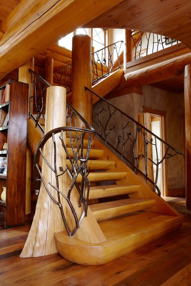 Log Home Stairs And Railings on Log Cabin Open Floor Plans