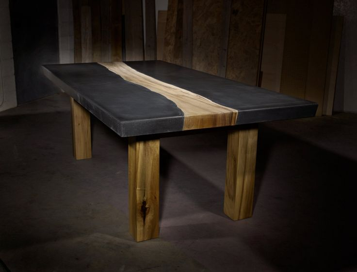 Concrete Table with Wood Inlay via Tao Concrete on Etsy.