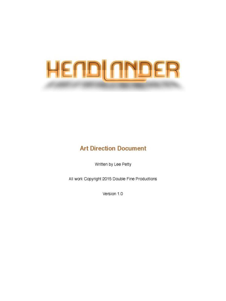 The Headlander Art Direction Document was created during the pre-production phase of Headlander, a side-scrolling action adventure game inspired by 70's science fiction. Headlander was published by Adult Swim Games and developed by Double Fine Productions