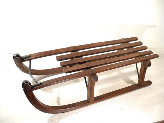 Antique wood snow sledge davos european sled antiques for Vintage sleds