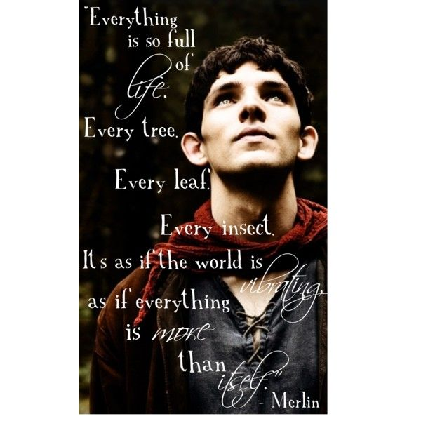 """Everything is so full of life. Every tree. Every leaf. Every insect. It's as if the world is vibrating, as if everything is more than itself."" -Merlin"