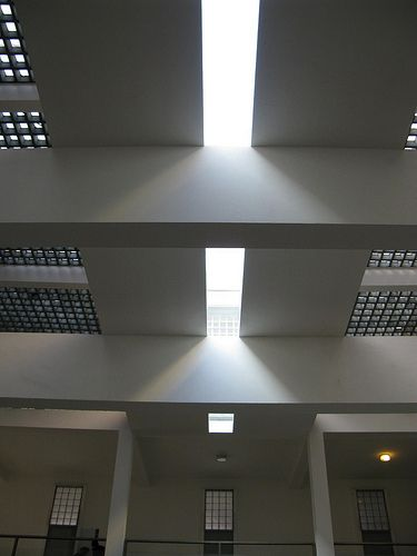 Terragni: Casa del Fascio. Interior and skylight and glass brick.