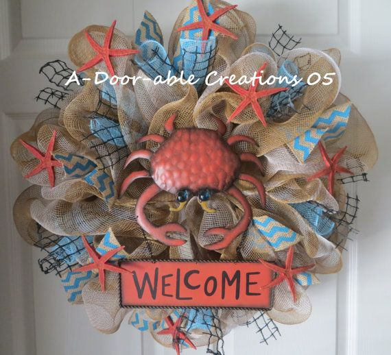 Welcome...Beach Wreath by ADoorableCreations05 on Etsy, $85.00