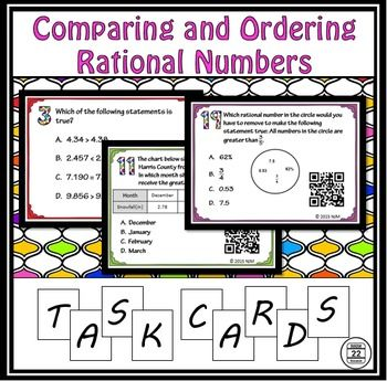 Ordering Rational Numbers Task Cards with varying difficulty. Meets Texas and CCSS standards on comparing and ordering rational numbers.These task cards are included with the Comparing and Ordering Rational Numbers Interactive Notebook Activity, the Bundle of Task Cards, and the 6th Grade Math Curriculum and Activities.